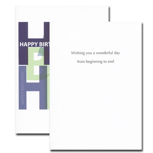 Boxed Birthday Card - Bold Letters inside reads: Wishing you a wonderful day from beginning to end