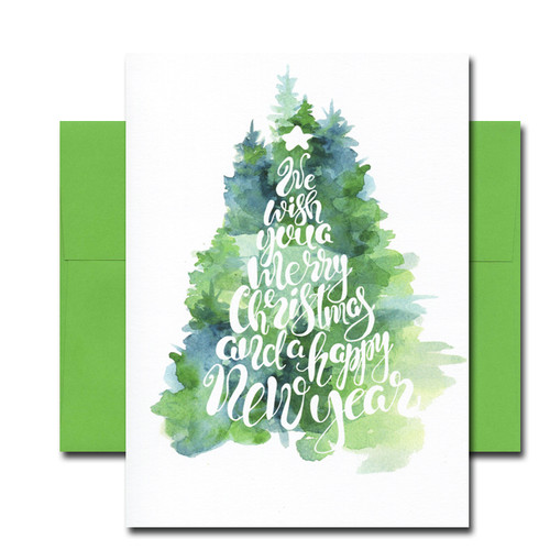 Holiday Note Card - Fir Tree has a watercolor illustration of a traditional tree and the words: We wish you a Merry Christmas and a Happy New Year