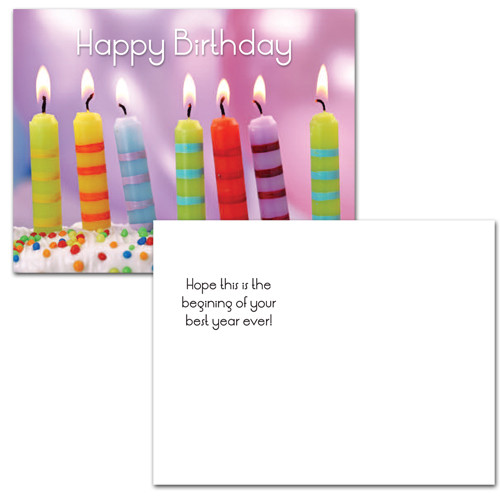 "Birthday postcard with photo of 7 striped candles on cake with the words Happy Birthday in bright letters.  Flip side text has the words ""hope this is the beginning of your best year ever"". 12 of this birthday postcard style per box for business, corporate or school use."