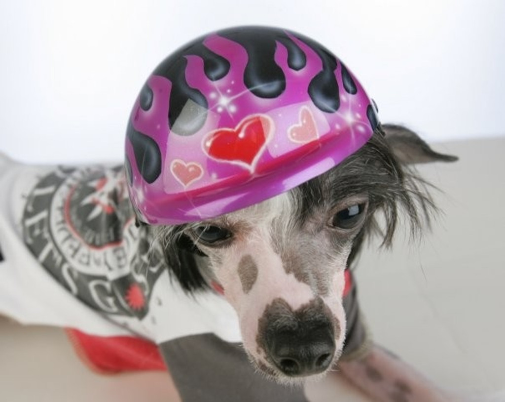 Airbrushed Purple Glitter Flames Dog Helmet