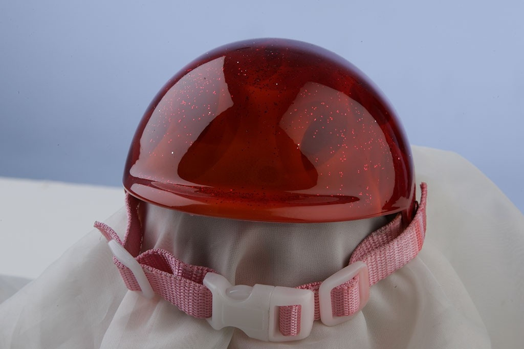 Airbrushed Pink Glitter Flames Dog Helmet