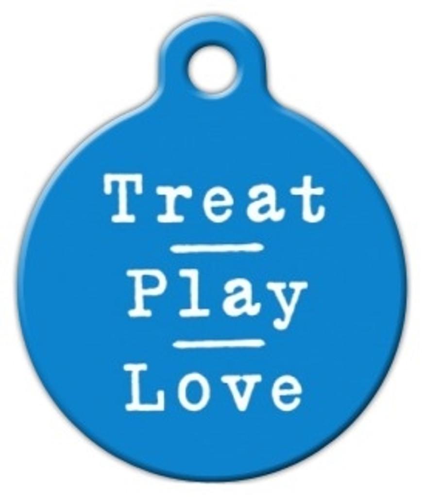 Blue Treat Play Love Dog ID Tag