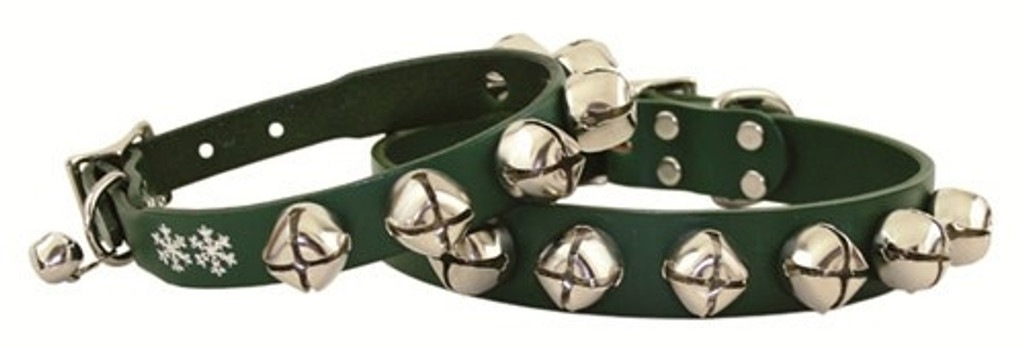 Christmas Jingle Bells Green Leather Dog Collar