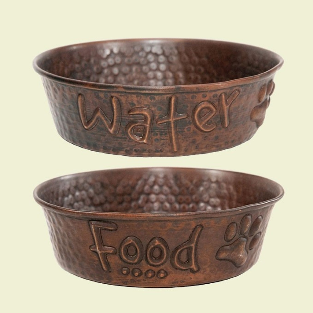 set of 2 food and water hammered copper dog bowls copper dog bowls