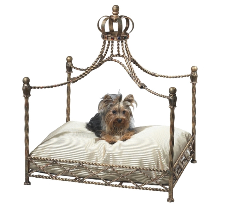 Antique Gold Crown Dog Bed