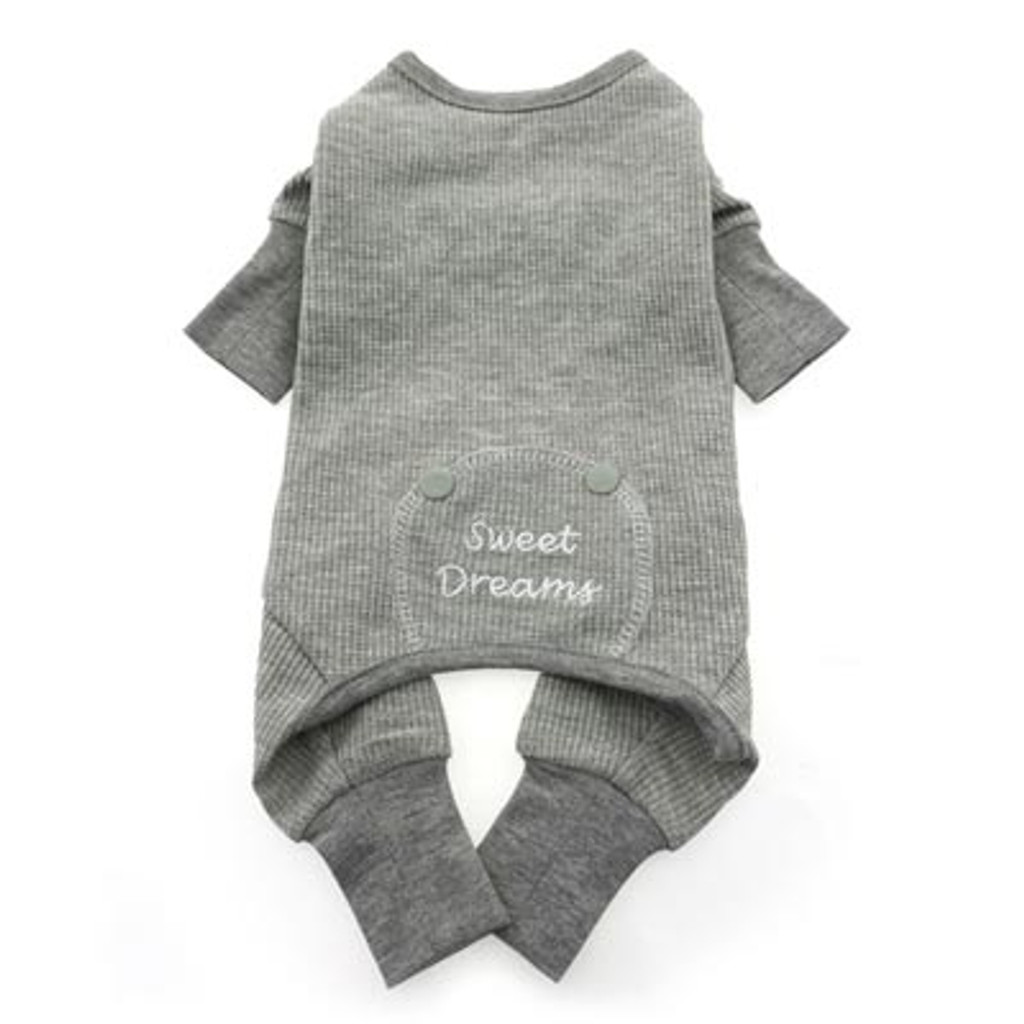 sweet dreams grey thermal dog pajamas