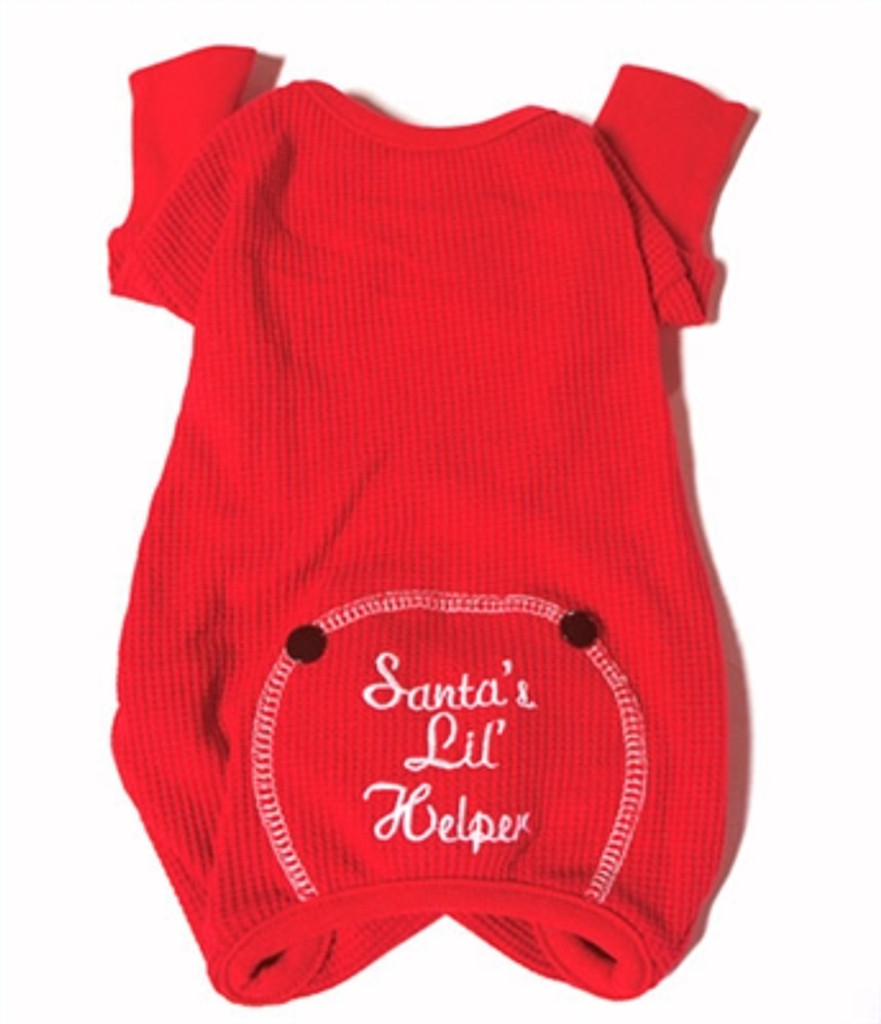 """Santa's Little Helper"" Thermal Dog Pajamas - Red"