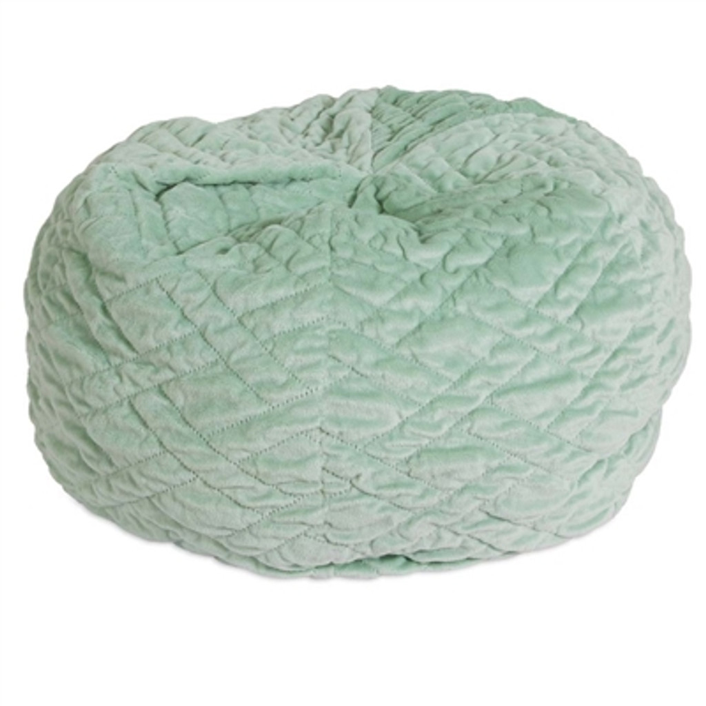 green quilted beanbag style dog bed