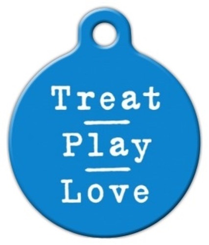 Blue Treat Play Love Dog ID Tag