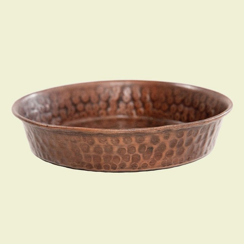 Shallow Hammered Copper Dog Bowl