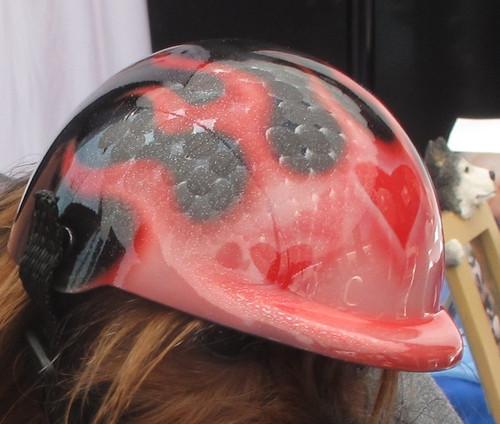 Airbrushed Glitter Flames Dog Helmet