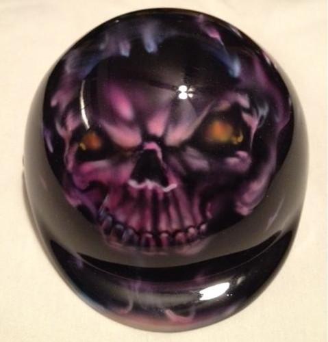 Purple Flaming Skull Dog Helmet