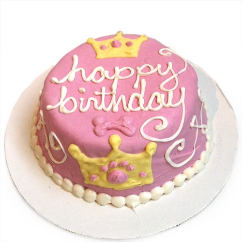 Pink Princess Dog Birthday Cake