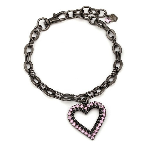 Gunmetal Dog Necklace with Pink Crystal Heart
