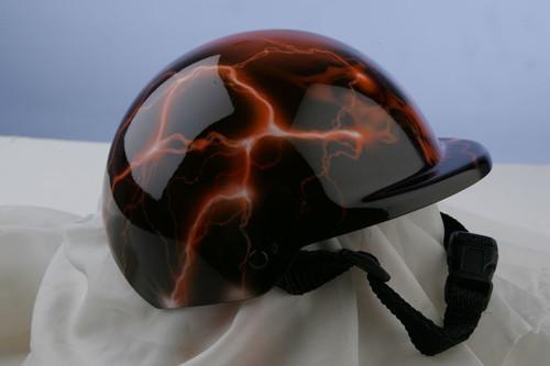 Airbrushed Orange Lightning Skull Dog Helmet