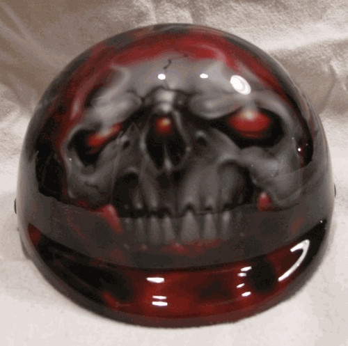 Airbrushed Red Eyes Skull Dog Helmet