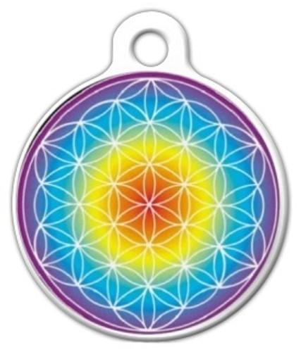 Rainbow Flower of Life Dog ID Tag