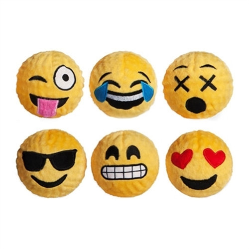 Emoji Squeaker Bouncy Ball Dog Toy