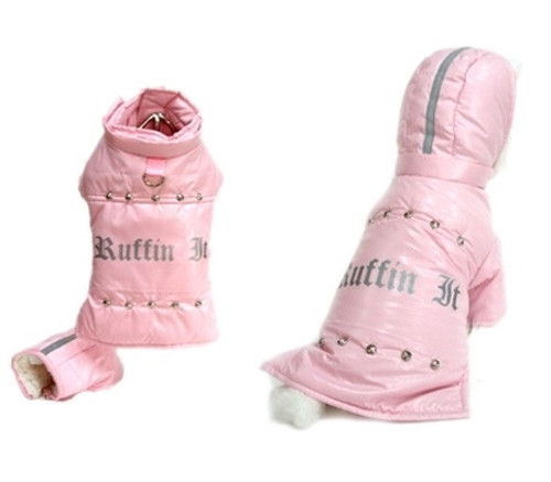 Ruffin it Pink Dog Coat