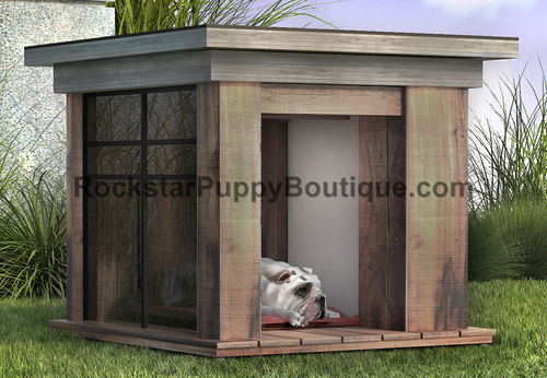 sandblasted hemlock dog house with tempered glass panel