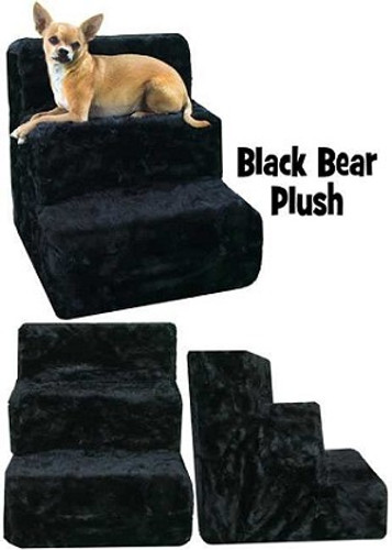 plush black bear pet steps