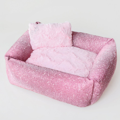 pink crystal dog bed