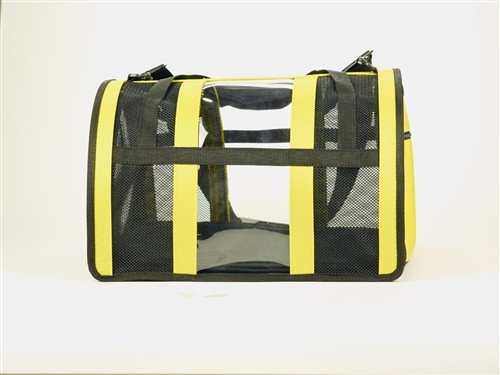 yellow puppy shell dog carrier