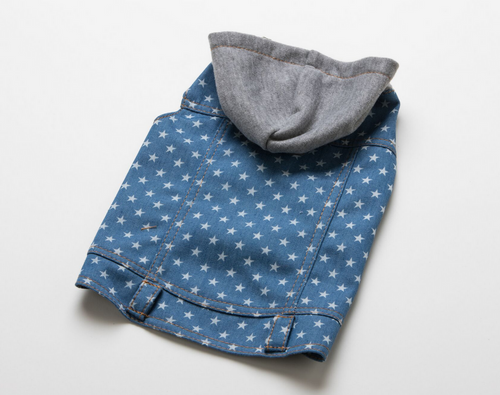 star print denim dog jacket