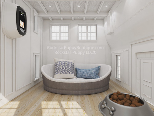 hamptons style dog house interior