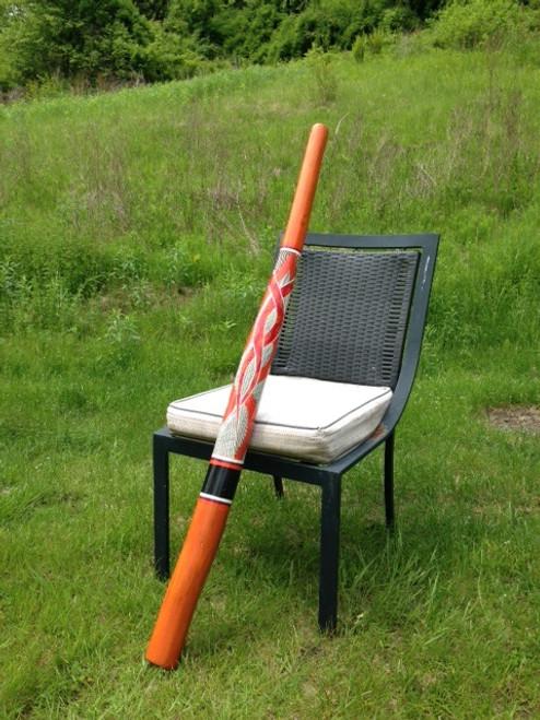Orange Geometric Teakwood Didgeridoo