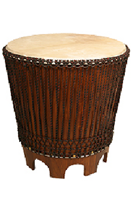 End Drum Table with Rope Tuned Natural Head 24-by-26-Inch