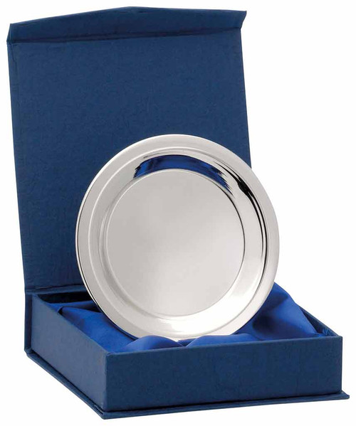 H327 Nickel Plated Plain Silver Tray that includes a FREE presentation box
