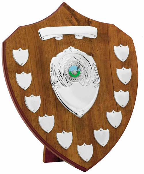 Maple 11 Year Presentation Shield with 13 silver engraving plates