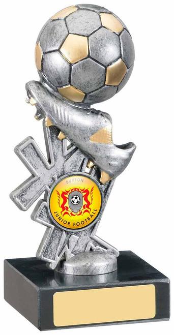 ANTIQUE SILVER FOOTBALL BOOT AND BALL AWARD