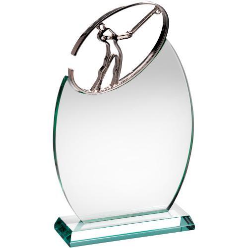 METAL GOLF FIGURE JADE GLASS AWARD