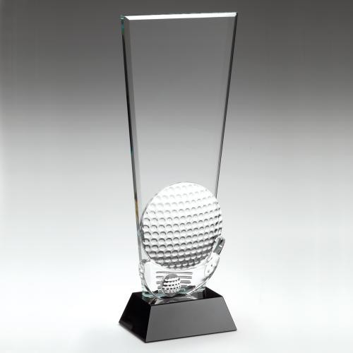 3D Glass Golf Ball Award from 1st Place 4 Trophies. 3 Sizes and FREE personalised engraving.