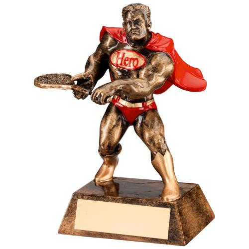 Resin Hero Tennis comic superstar award. Perfect for tennis superstars and available with FREE personalised engraving