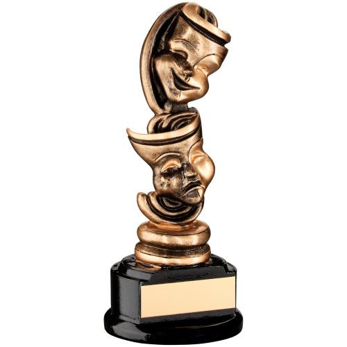 Upright standing Drama comedy and tragedy masks trophy for those fabulous acting performances.