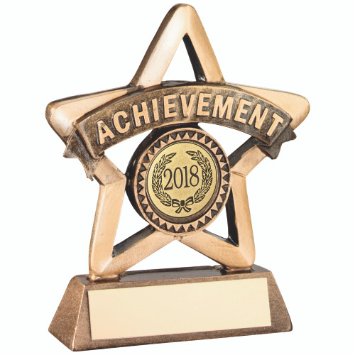 "Resin school achievement star award that includes FREE personalised engraving and 1"" centre."