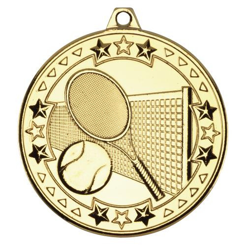 Gold 50mm Tennis Medal