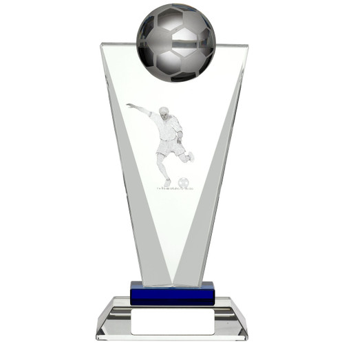 Exquisite Pinnacle laser engraved 3D glass football trophy award from 1stPlace4Trophies
