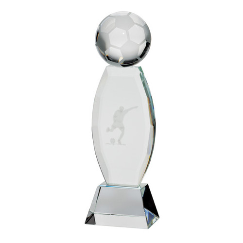 Infinity Football Trophy Crystal Glass Award with 3D laser image