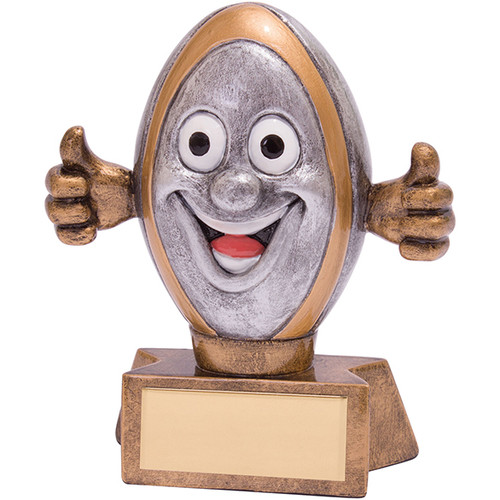 Novelty Smiler Rugby Trophy Award Comic Ball