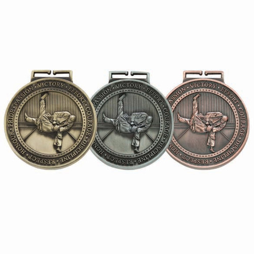 Judo Martial Arts 70mm 3D sport Medals gold silver bronze cheapest price
