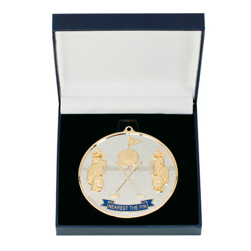 Nearest the Pin Golf Medal 70mm with box and free engraving at 1st Place 4 Trophies
