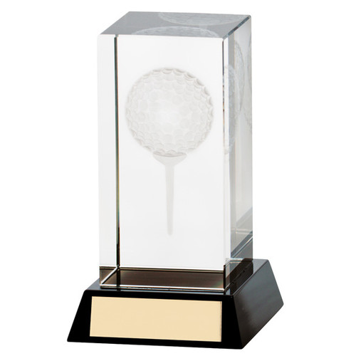 Lanark crystal golf trophy with 3D image of ball and tee