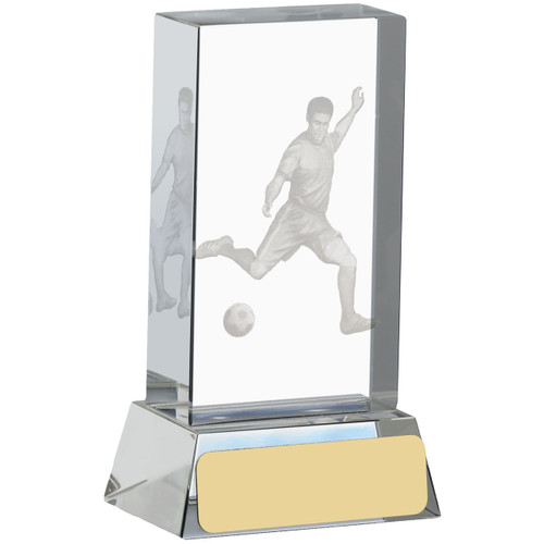 A beautiful glass football trophy with FREE engraving and FREE silk lined presentation box