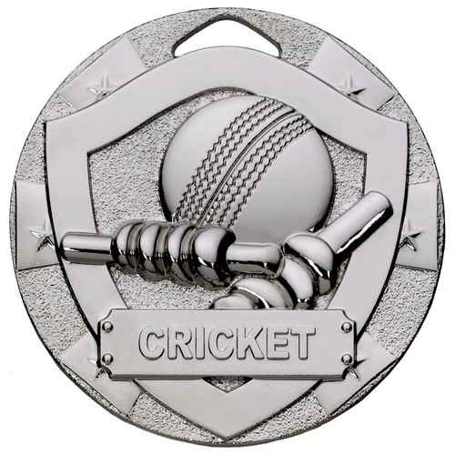 50mm embossed cricket medal in silver with free engraving