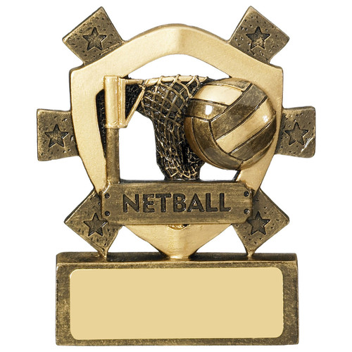 Miniature shield Netball quality trophy at a super budget cheap price from 1stplace4Trophies