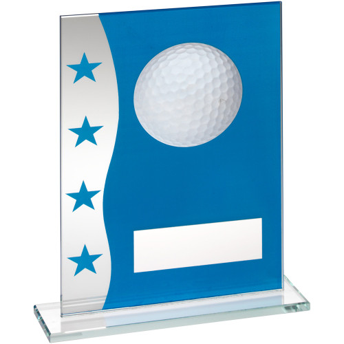 Stylish blue and silver glass golf trophy in 3 sizes at budget prices